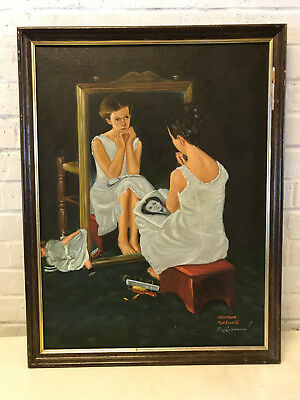 Vintage Signed Oil Painting AFTER Norman Rockwell Girl At Mirror