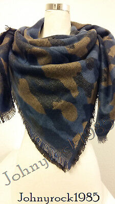 Blue With Colorful Feathers Sheer Scarf 63x14Inch