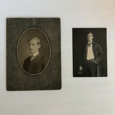 Two Vintage Antique Photos of Handsome Young Man, Derby Hat 1800s-1900s.
