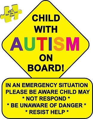 "Child With Autism Alert First Responders Decal Sticker 3.25/"" x 4.25/"" p69"