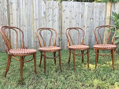 VINTAGE / ANTIQUE BENTWOOD BISTRO CAFE DINING CHAIRS Solid Wood -Set Of 4