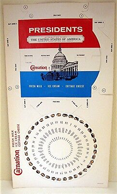 !969 Carnation Dairy US Presidents Political Dial Chart Unused Old Store Stock