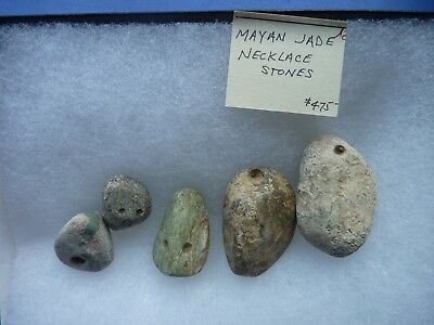 Very Old Mayan Jade Necklace Stones with Hand Drilled Cord Holes