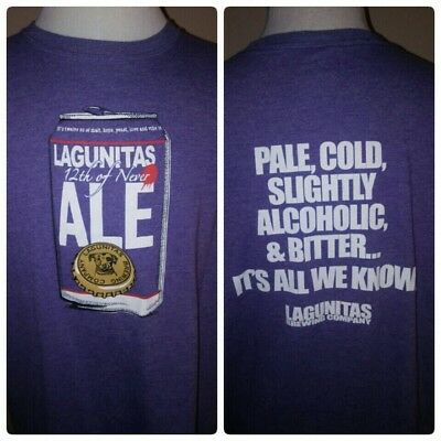 LAGUNITAS Brewing Company 12th of Never Ale Craft Beer Purple T-Shirt Size XL