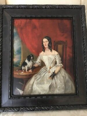 19th Century Portrait Of Woman With Spaniel