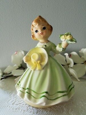 "Schmid Girl Holding Hat and Flowers Revolving Music Box Plays ""Fur Elise"""