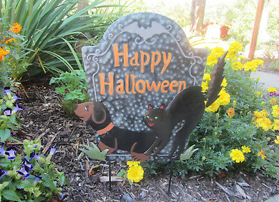HAPPY HALLOWEEN Silly Black & Tan Dachshund & Black Cat Garden Yard metal Stake