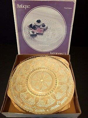 """Vintage Set Of 4 Luminarc Antique Pattern Clear Class 8"""" Snack Plates 'In Box"""""""