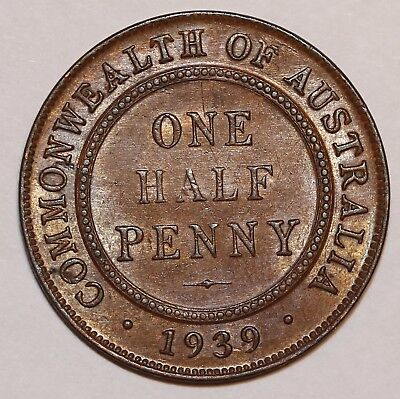 Commonwealth of Australia 1939 One Half Penny Coin   AU CONDITION   #C-04