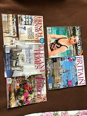 Lot Of 5 Magazines Town & Country Britain Victoria Elegant Homes French Country
