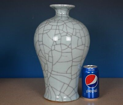Fine Antique Chinese Crackle Porcelain Meiping Vase Rare R1671
