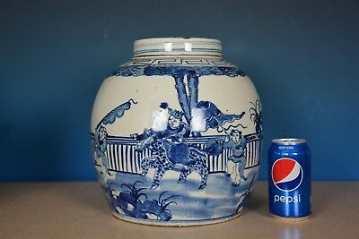 Fine Antique Chinese Blue And White Porcelain Jar Rare B8209