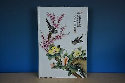 Rare Antique Chinese Porcelain Plaque Famille Rose Marked Master Liu Yucen G8989