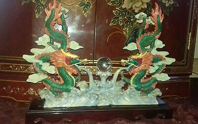 LARGE VINTAGE ORIENTAL DOUBLE DRAGONS  DECORATED ORNAMENT LENGTH 17 inch