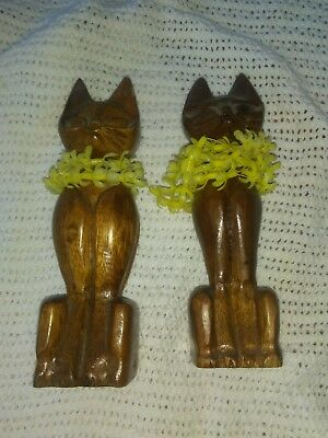 Wooden Carved Cats