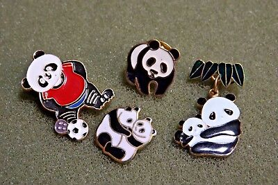 Giant Panda Bear Lapel Pin Lot (4) Dangle CWCA China Wildlife Conservation Assoc