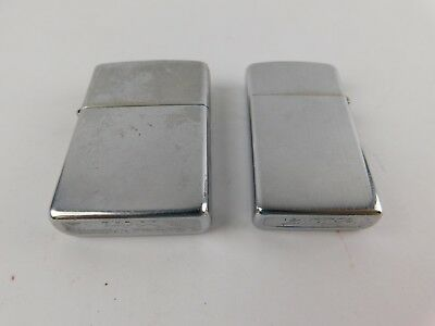 Lot of 2 Vintage Zippo Lighters Slim 1973 & Regular 1992 Date Codes