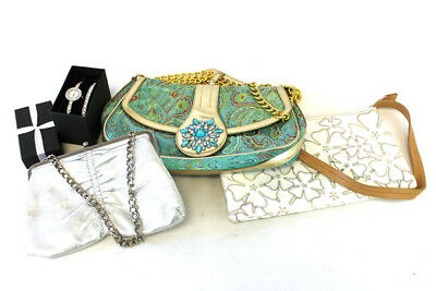 Lot of 3 Handbags Clutch Purse - Silver White Floral Paisley Bejeweled BCB Girls