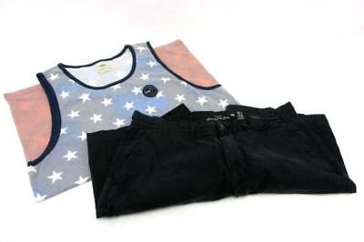 Mixed Lot of 2 Items Men's H&M Black Shorts 34 Vans Flag Print Tank Large