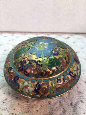 Vintage Chinese Cloisonne Jar With Lid ~ 3.5 inches across- # L