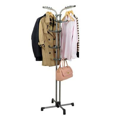 Heavy Duty Metal Coat Standing Hall Tree Hat Jacket Hanger Holder Garment Rack