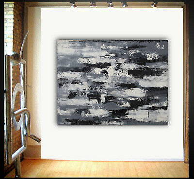 Original modern Large palette knife abstract painting wall art Black and White
