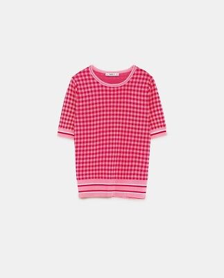Zara Bnwt Check Sweater With Striped Hem Pink Large
