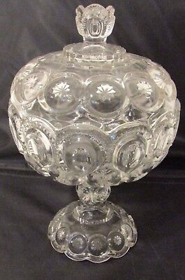 Antique L.E. Smith Moon and Stars Pressed Glass Lidded Pedestal Compote