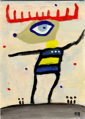 in the language of the wind e9Art ACEO Deer Shaman Outsider Primitive Visionary