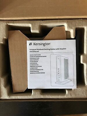New Kensington M01065 K33926 USB 2.0 Docking Station Port Replicator + PSU