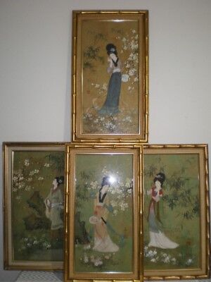 Set of 4 Old Vtg Signed Original Asian Japanese Painted Japan GEISHA Women Girls