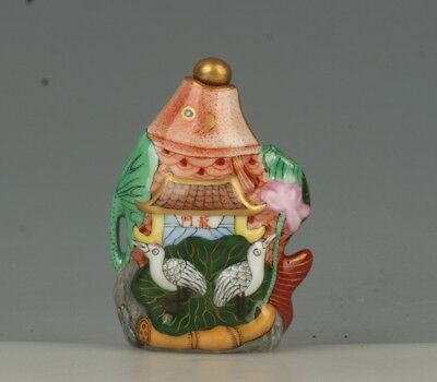Chinese Exquisite Handmade fish lotus crane porcelain Snuff Bottle