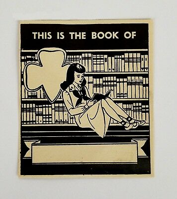 Girl Scouts 1940's Original Ex Libris Book Plate Label RARE