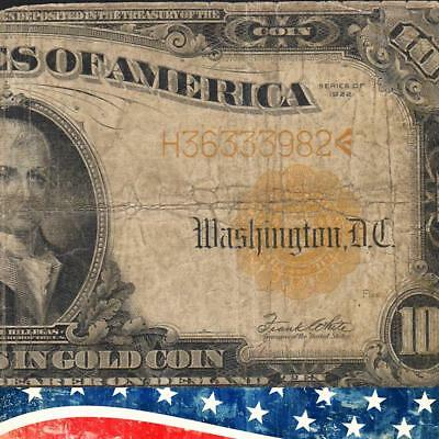 1922 $10 GOLD CERTIFICATE Fr 1173 Free Shipping!  H36333982