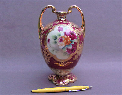 A Nice NIPPON Vase, Handpainted Roses w/ Heavily Encrusted Gold Decor