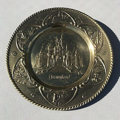 Vintage DISNEY Disneyland Castle Brass Wall Hanging Plate Made In England RARE!