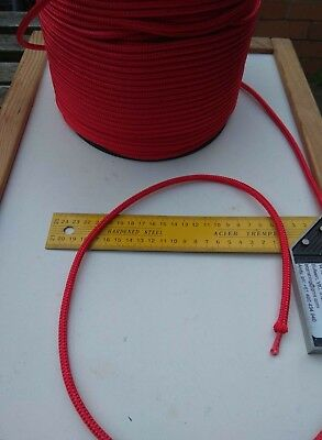 15m X 6mm RED DOUBLE BRAID WITH DYNEEMA® SK75 CORE HALYARD MARINE ROPE 1800kg