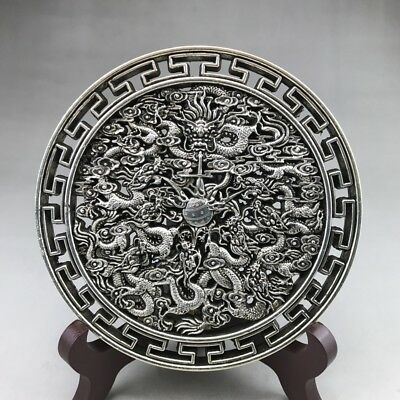 Chinese Ancient Tibetan Silver Hand-Carved Sculptures Kowloon Statues