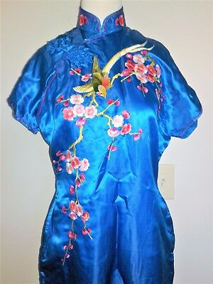 Vtg Chinese turquoise Silk Cheongsam Dress robe embroidered floral swallow bird