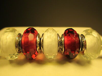 5 Authentic Pandora Silver 925 Ale Fascinating White Red Murano Beads Charms New