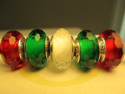5 Authentic Pandora Silver 925 Ale Fascinating Green Red Christmas Beads Charms