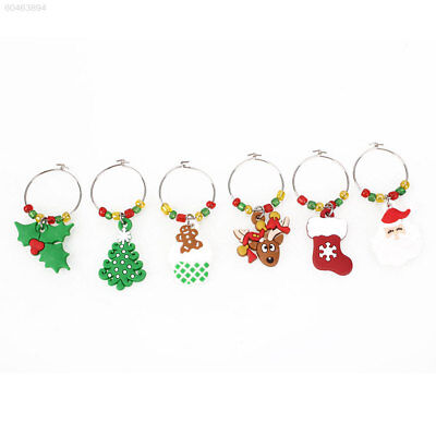 1762 BEA7 Kawaii Xmas Tree Bell Wine Glass Hanging Ornament Christmas Decoration