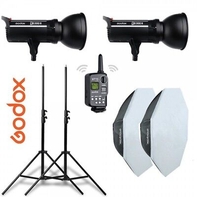 Kit 2 flashes Godox DS300II con receptor interno, octas, pies y transmisor XT16