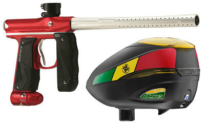 Paintball Markierer Empire Mini GS dust red / silver + Dye R2 Rotor Loader Rasta