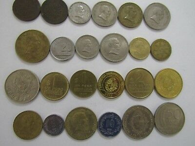 Lot of 24 Different Uruguay Coins - 1944 to 2012 - Circulated & Brilliant Unc.