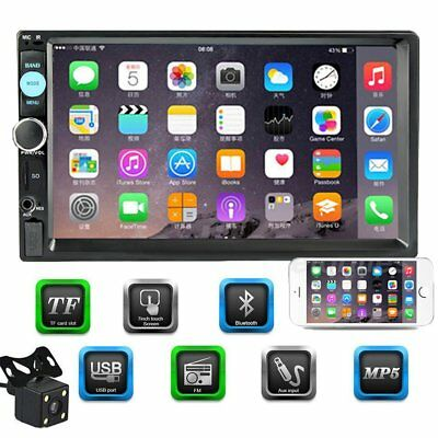 """7"""" HD Bluetooth 2 Din Car Touch Screen Radio FM MP5 Player + Rearview Camera"""