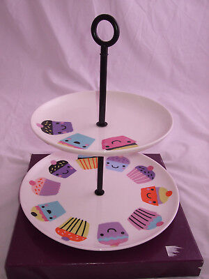 Paperchase Fine China 2 tier cupcake design cake stand
