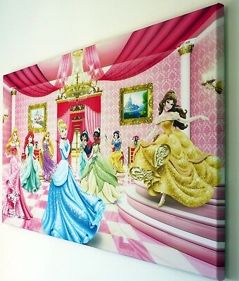 DISNEY PRINCESSES WALL ART CANVAS PICTURE 18 x 32 INCH FRAMED PRINT ...