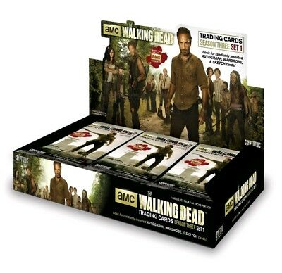 NEW SEALED Walking Dead trading cards season 3 part 1 24 Pack Box Autograph Card