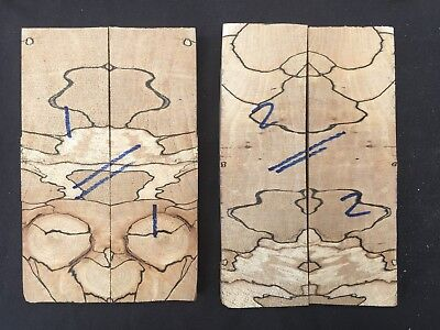 Spalted beech cross grain bookmatched knife scale / knife handle sets